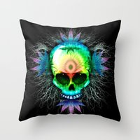 marijuana Throw Pillows featuring Marijuana Psychedelic Skull by BluedarkArt