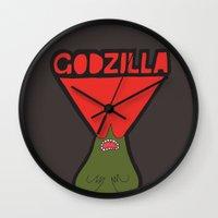 godzilla Wall Clocks featuring Godzilla by evannave