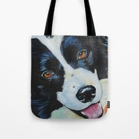 border collie Tote Bags featuring Border Collie by Melissa Smith Pet Art