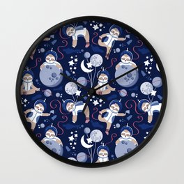 Best Space To Be // navy blue background indigo moons and cute astronauts sloths Wall Clock