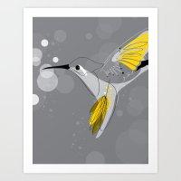 hummingbird Art Prints featuring Hummingbird by Steph Dillon