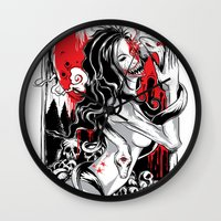 witchcraft Wall Clocks featuring Witchcraft by edison zhou