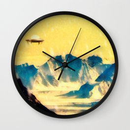 UFO Over Snowy Mountains Wall Clock