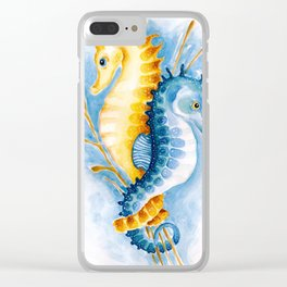 Seahorses Orange And Blue Watercolor Art Clear iPhone Case