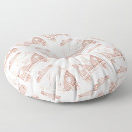 Red Pastel Vintage Van Pattern Design by Andrzej Ejmont | Vintage Boys Pattern Art | Car Pattern Floor Pillow