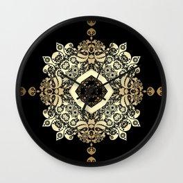 Golden Eastern ornament . Wall Clock
