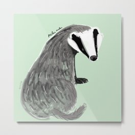 Adorable Badger ( Meles meles ) Metal Print