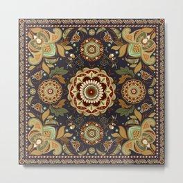 Boho Framed Floral Metal Print