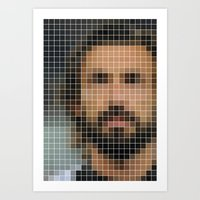 pirlo Art Prints featuring Andrea Pirlo Pixel Art Print by Dale J Cheetham