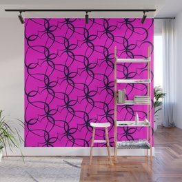 Vintage background of openwork hearts. Pattern of silhouettes of black hearts on a purple background Wall Mural
