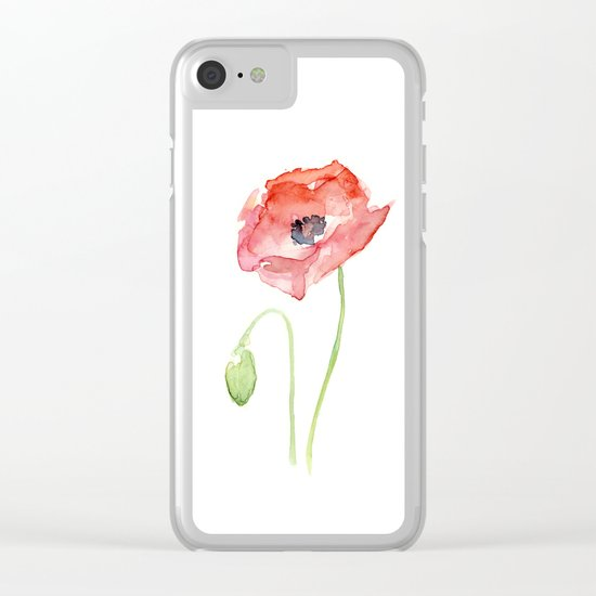 Red Poppy Flower Flowers Clear iPhone Case