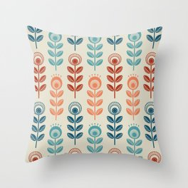 SCANDI GARDEN 01-7, multicolor on ivory Throw Pillow