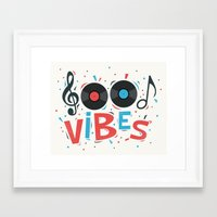 good vibes Framed Art Prints featuring Good Vibes by Word Quirk