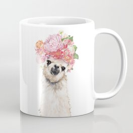 Llama with Beautiful Flowers Crown Coffee Mug