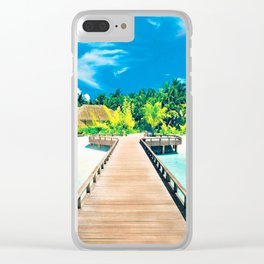 beach shower curtain Clear iPhone Case