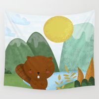 beaver Wall Tapestries featuring little beaver by Proyecto Melón