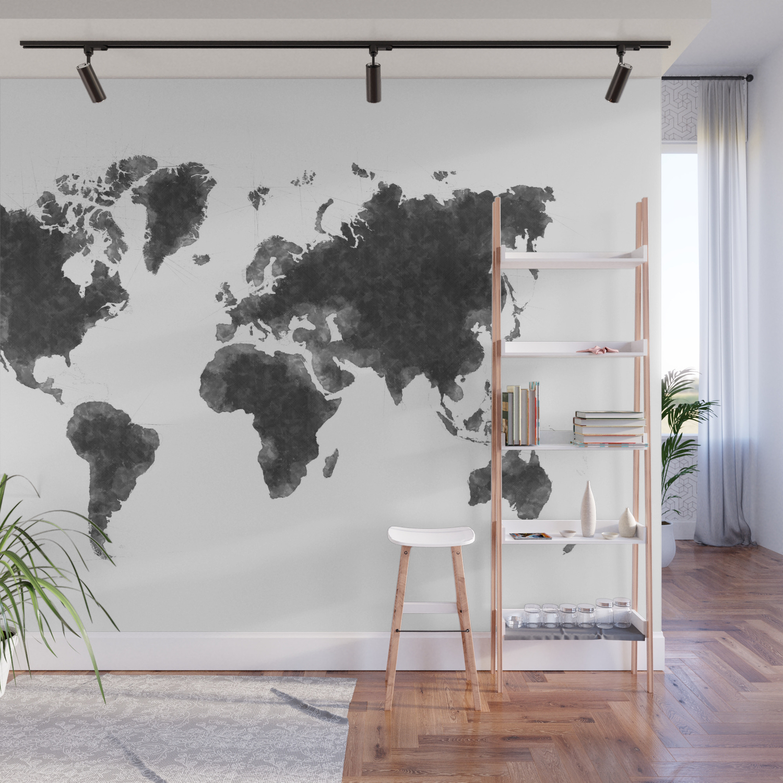 World Map Wall Art World Map Black Sketch, Map Of The World, Wall Art Poster, Wall