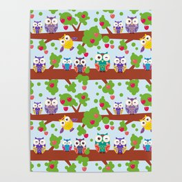 bright colorful owls on the branch of a tree with red apples on blue background Poster