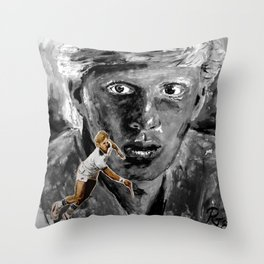 The young BORIS BECKER Throw Pillow
