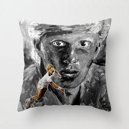 The young BORIS BECKER Throw Pillow