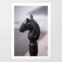 Standing Guard - Horse Head Hitching Post in New Orleans French Quarter Art Print