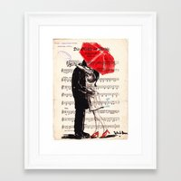 umbrella Framed Art Prints featuring Umbrella by Krzyzanowski Art