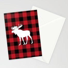 Red Buffalo Plaid Moose Stationery Cards