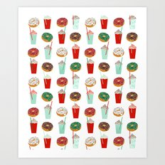 Christmas donuts sweet treats doughnuts coffee cafe latte foodie foods Art Print