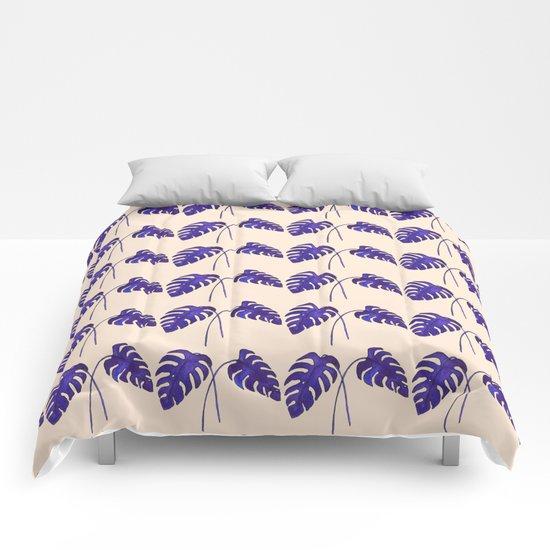 Indigo Monstera Leaf Watercolor on Blush Comforters