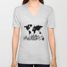 world map city skyline 4 Unisex V-Neck