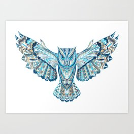 Flying Colorful Owl Design Art Print