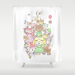 Animal Crossing (white) Shower Curtain