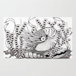Zentangle Nautilus in the Ocean Illustration Rug