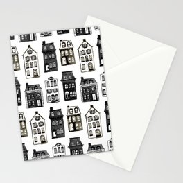 Mansard Mansions in Black + White Watercolor Stationery Cards