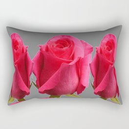 SEVEN PINK BUD ROSES ON GREY COLOR Rectangular Pillow