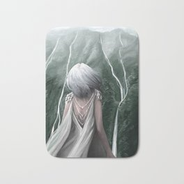 Girl  standing by a mountain Digital Art Painting Bath Mat