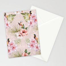 Pattern Tropical plants with birds Stationery Cards
