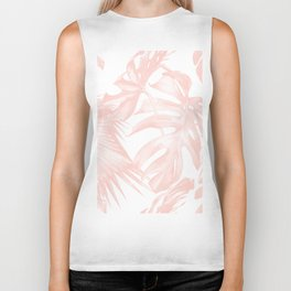 Tropical Leaves Pink and White Biker Tank