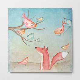 Gabriel's tales: Fox and the birds Metal Print