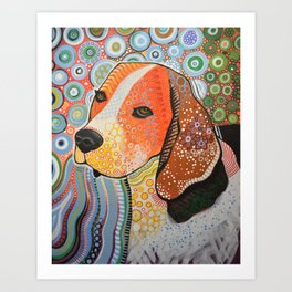 Rocky ... Abstract pet dog portrait art, Beagle Art Print