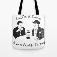 dale cooper Tote Bags featuring TWIN PEAKS - Dale Cooper and Harry Truman by Guiltycubicle