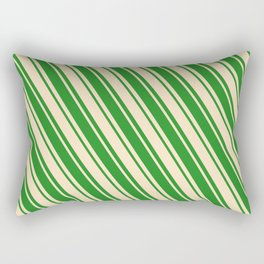 Bisque & Forest Green Colored Lines/Stripes Pattern Rectangular Pillow