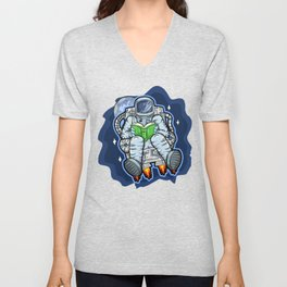 Astronaut Reads A Book In Space Unisex V-Neck