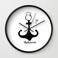 anchorman Wall Clocks featuring I'm your anchorman by frana the kid