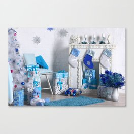 Christmas interior in blue color. Christmas tree with fireplace, Christmas holiday and New Year back Canvas Print