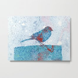 Blue Bird in Winter Metal Print