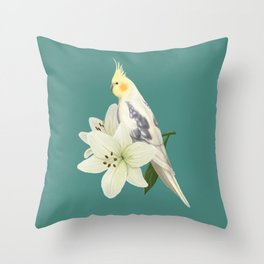 Pied Cockatiel Throw Pillow