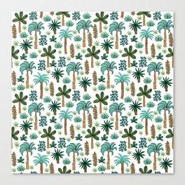 Tropics palm trees pattern print summer tropical vacation design by andrea lauren Canvas Print