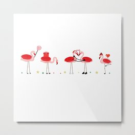 Flamingos. Candy, Gift box, heart balloon. Happy new year and merry Christmas greeting card Metal Print