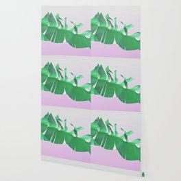 Banana leaf on pink Wallpaper